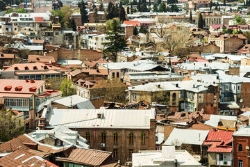 Georgia, Tbilisi, top view of a fragment of the historical part of the city center.