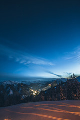 snowcovered mountain landscape at the blue hour