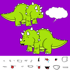 funny baby triceratops cartoon expressions set in vector format very easy to edit