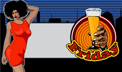 Doodle with a cheerful woman drinks wine from a bottle. Comics style. City on background. Text Friday. Beer glass. Vector image