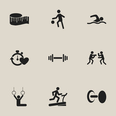 Set Of 9 Editable Sport Icons. Includes Symbols Such As Sportsman, Training Pool, Fight And More. Can Be Used For Web, Mobile, UI And Infographic Design.