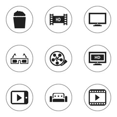 Set Of 9 Editable Movie Icons. Includes Symbols Such As Tape, Hd Screen, 3D Vision And More. Can Be Used For Web, Mobile, UI And Infographic Design.