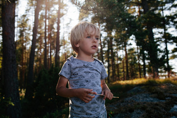 Boy looking at the view with a forest behind him