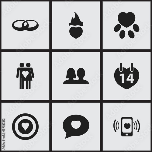 bd57ea4825 Set Of 9 Editable Heart Icons. Includes Symbols Such As Valentines Day,  Couple, Smartphone And More. Can Be Used For Web, Mobile, UI And  Infographic Design.