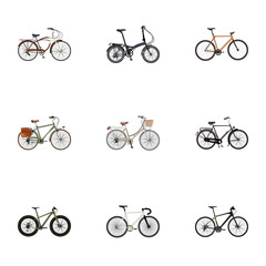 Realistic Bmx, Folding Sport-Cycle, Working And Other Vector Elements. Set Of  Realistic Symbols Also Includes Dutch, Postman, Bmx Objects.