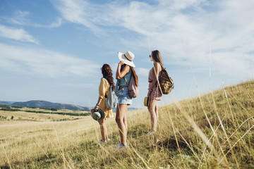 Three Young Women Hiking Together