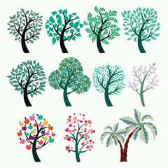 Collection of green trees vector. Set of abstract stylized trees.