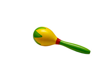Baby rattle maracas isolated on white background