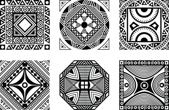 Set of African ornament, black and white style