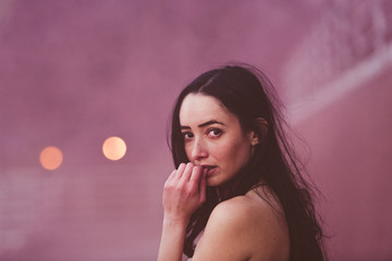Young woman in pink
