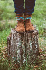 autumn shoes on the stump