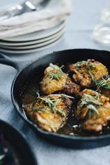 Skillet of Chicken with 40 cloves of garlic