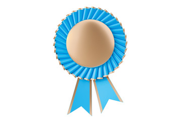 Blue winning award, prize, medal or badge with ribbons. 3D rendering
