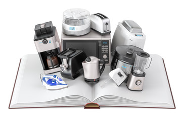 Opened blank book with household kitchen appliances, 3D rendering