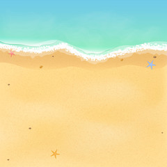 Summer time. Top view of an exotic empty beach with sea stars and seashells. A place for your project. A foamy sea with waves. Vector illustration