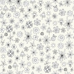 Seamless floral pattern. Cute simple flowers on a white background. Floral pattern for textiles, packaging, Wallpaper, scrapbooking.