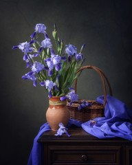 Still life with blue iris flowers