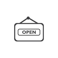 Open icon in black on a white background. Vector illustration