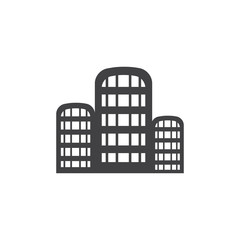 City icon in black on a white background. Vector illustration