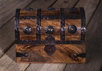 Closeup of a Wooden Treasure Chest