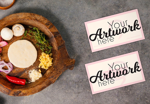 Business Cards on Counter with Ingredients Mockup