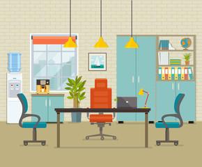 Modern office interior. Vector flat illustration.