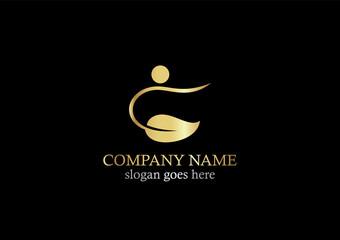 gold swoosh leaf beauty logo