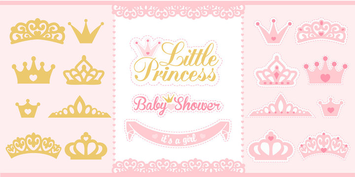 Gold and pink crowns set. Little princess design elements. Template silhouettes of crowns for laser cutting. Birthday party and girl baby shower decor.