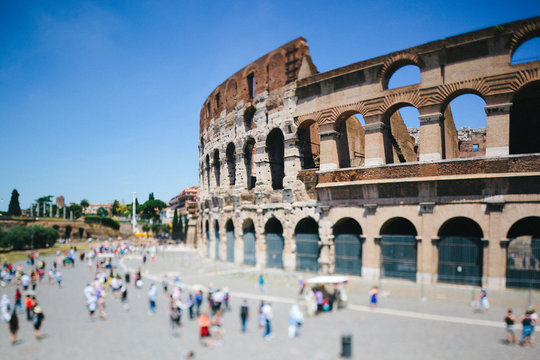 People visiting the Colosseum in Rome