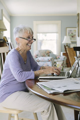 Senior Woman At Home working on Laptop
