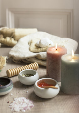 Various items used in spa treatments