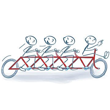 Strichmännchen und Fahrradfahren als Gruppe