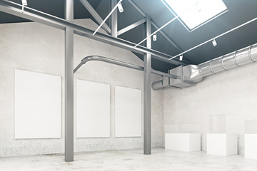 Warehouse interior with empty banner side