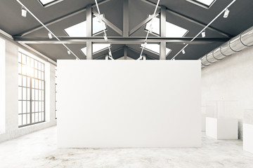 Warehouse interior with empty banner