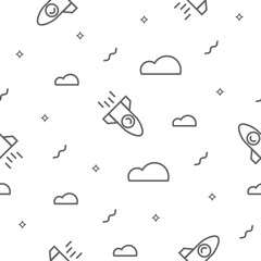 Space seamless pattern with a rocket, clouds and stars.