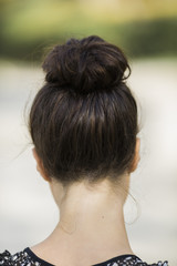 neck of young woman in closeup,selective focus