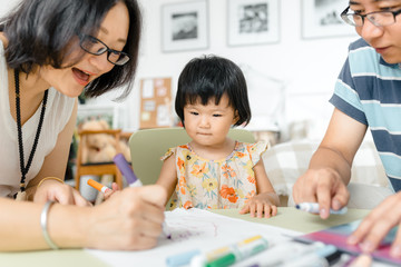 Adorable little girl drawing pictures with her parents