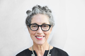 Portrait of stylish senior woman with grey hair