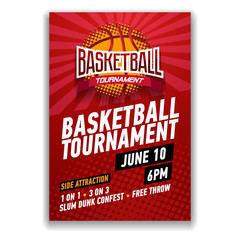 Basketball tournament, modern sports posters design.
