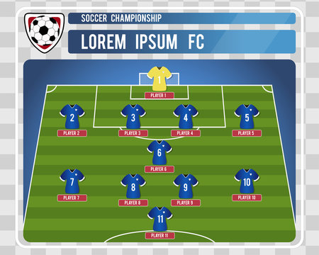 Football or soccer starting lineup with editable arrangement of players. Vector illustration.