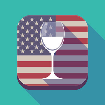 Long shadow USA app button with a cup of wine
