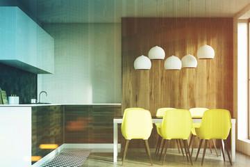 Dark wooden dining room toned