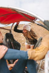 Female Friends in Adventure in the Desert With Buggy