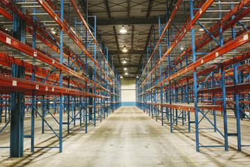 Empty Shelves in Warehouse