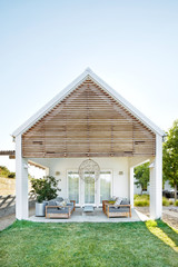Back patio of bedroom of luxury home
