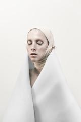 Conceptual fashion portrait of model