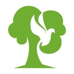 Fototapete - Tree Bird green