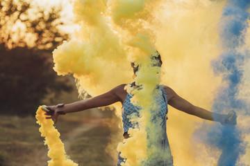 Woman Holding a Smoke Bomb