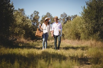 Young couple holding hands while carrying picnic basket