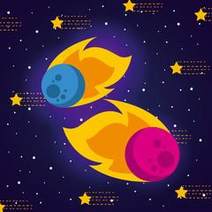 meteorite solar system flat vecor icon design graphic illustration